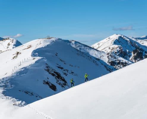 Aufstieg zum Falkertköpfl auf der Nockberge-Trail Skidurchquerung