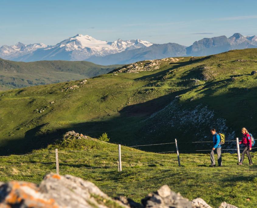 Wanderung durch die Nockberge im Sommer mit Blick auf die Hohen Tauern
